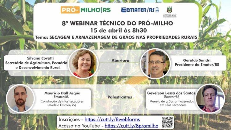 Secagem e armazenagem de grãos nas propriedades rurais é tema de webinar do Pró-Milho/RS